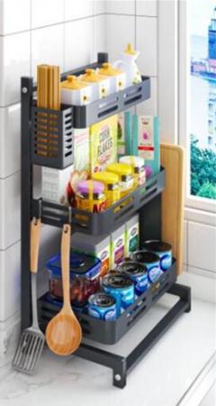 廚房黑色座台三層置物架(BT3340)