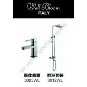 Well Bloom Italy 熱賣300系列不銹鋼拉絲龍頭連雨淋套裝(300WLR)