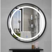 觸控式有燈防霧黑框浴室鏡600mm(LF600)