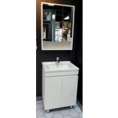 啞白色不銹鋼面盆櫃連雙門鏡櫃套裝(BS250360466080MW)