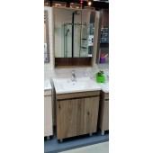 啡木紋不銹鋼面盆櫃連雙門鏡櫃套裝(BS250360466080B)